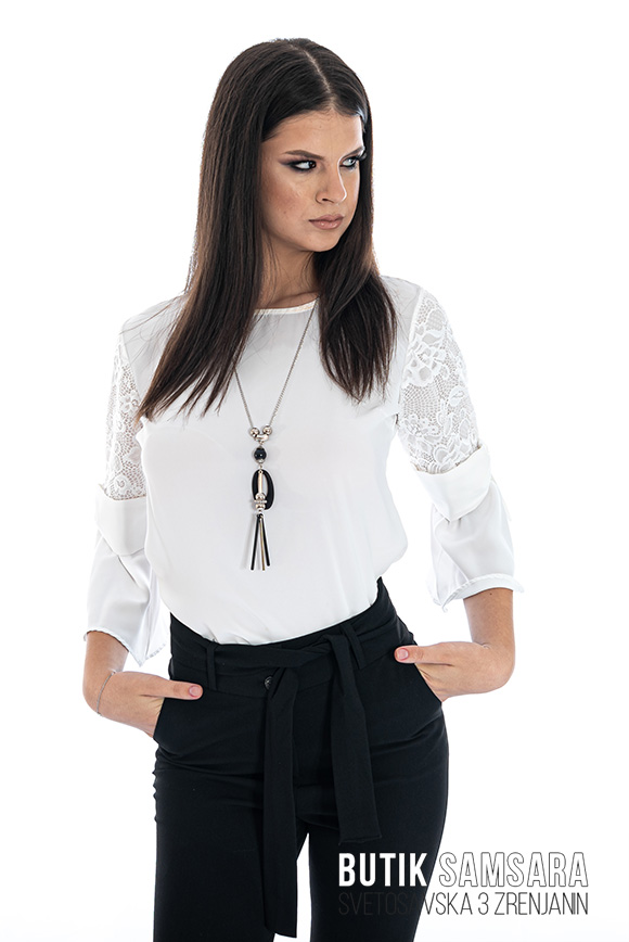 butik samsara zrenjanin zenske crne pamtalone bela bluza 002