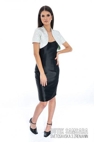 butik samsara zrenjanin zenska crna haljina sivi prsluk 017