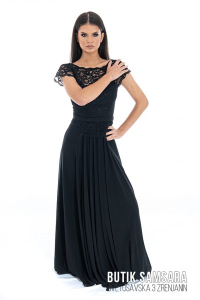 butik samsara zrenjanin zenska duga cipkana crna haljina 025