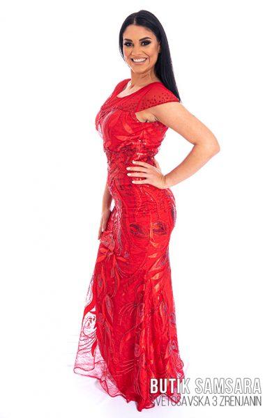 butik samsara zrenjanin zenska duga crvena svecana haljina 024